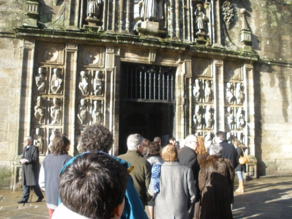 People wait in line to enter the Holy Door gate that leads to the Holy Door. January 1, 2010.